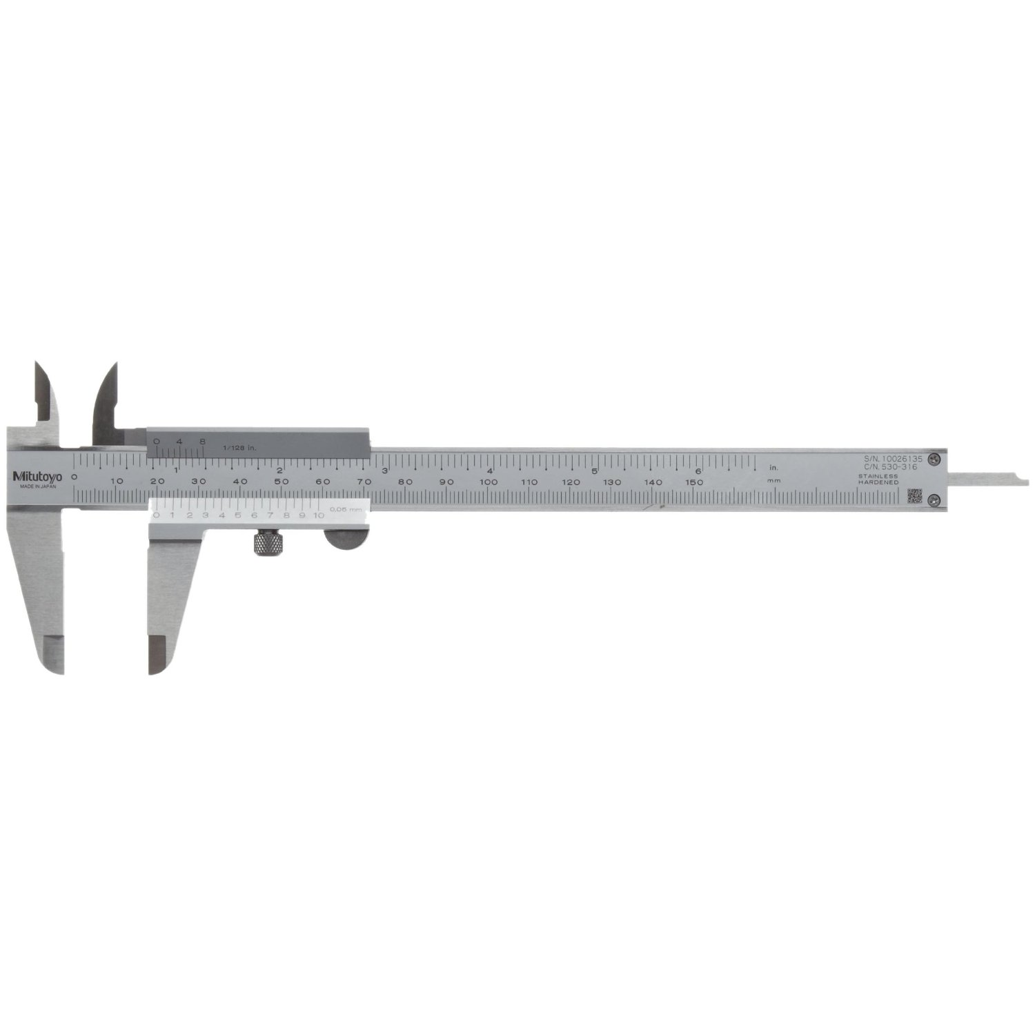 "vernier caliper Read the value of the main (stationary) scale which is just to the left & above the ""0"" zero reading on the vernier (movable) scale."